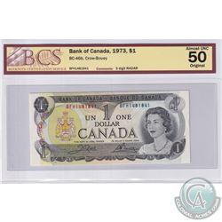 1973 $1 BC-46b, Crow-Bouey, 3 Digit RADAR, S/N: BFH1481841, BCS Certified AU-50 Original