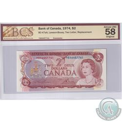 1974 $2 BC-47aA, Lawson-Bouey, Replacement, S/N: *BX6457741, BCS Certified AU-58 Original