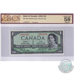 1954 $1 BC-29b, Beattie-Coyne, Devil's Face, S/N: J/A6883380, BCS Certified AU-58 Original