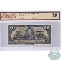 1937 $20 BC-25c, Coyne-Towers, Changeover, S/N: H/E3670059, BCS Certified VF-35