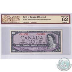 1954 $10 BC-40b, Beattie-Rasminsky, Modified Portrait, S/N: J/V5418782, BCS Certified CUNC-62 Origin