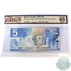 2002 $5 BC-62aA-i, Knight-Dodge, Replacement, Printed in 2003, S/N: HNM2559897 (2.540M-2.580M), BCS