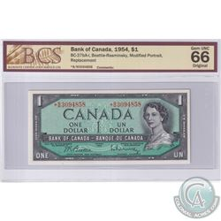 1954 $1 BC-37bA-I, Bank of Canada, Beattie-Rasminsky, Modified Portrait, S/N: *B/M3094858, Replaceme