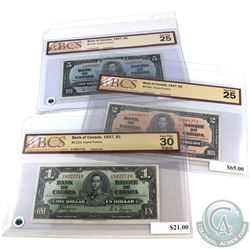 1937 $1, $2 & $5 Bank of Canada Notes BCS Certified. You will receive $1 BC-21d Coyne-Towers S/N: U/