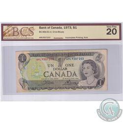 1973 $1 BC-46b-E1-vi, Crow-Bouey, Incomplete Printing, S/N: AML9307203, BCS Certified VF-20 (Hole)
