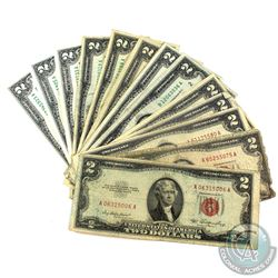 Group Lot of 1953-2009 USA $2 Federal Reserve Notes. You will receive 5x 1953, 7x 1976, 1x 1995 & 2x