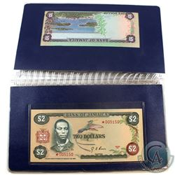 Bank of Jamaica 4-Banknote Set with Matching Star Serial Numbers *005150 in Laminated Sheets. You wi