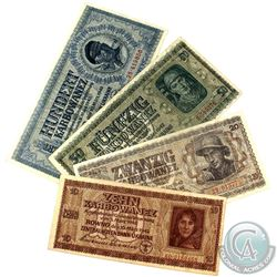 Lot of 1942 Ukrainian German Occupation Banknotes. You will receive 10, 20, 50 & 100 Karbovanets not