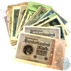 Lot of 21x German Hyperinflationary Banknotes from 1900's to 1920's. You will receive a good variety