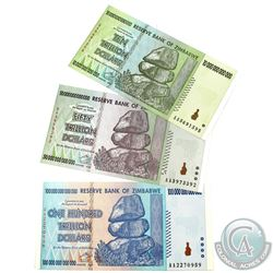 2008 Zimbabwe Hyperinflationary Banknotes. You will receive 10, 50 & 100 Trillion Dollar Notes. 3pcs