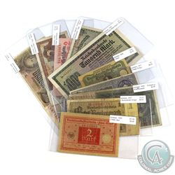 Lot of 1914-1948 Banknotes from Germany - All Notes are Different. 10pcs