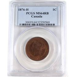 1-cent 1876H PCGS Certified MS-64 RB. Coin contains a deep cherry red glow with hints of blue and vi