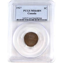 1-cent 1927 PCGS Certified MS-64 Brown.