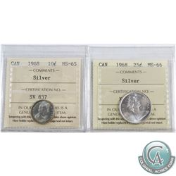 1968 Canada 10-cent Silver ICCS Certified MS-65 & 1968 25-cent Silver MS-66. 2pcs