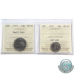 1975 Canada 10-cent ICCS Certified MS-65 & 1973 25-cent Small Bust MS-65. 2pcs