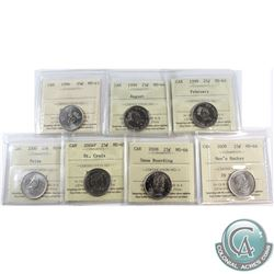 1996-2009 Canada 25-cent ICCS Certified - 1996 MS-65, 1999 February MS-64, 1999 August MS-64, 2000 P