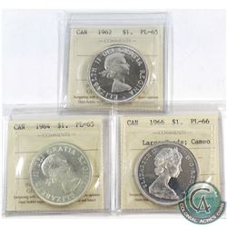 1962 Canada Silver $1 ICCS Certified PL-65, 1964 Silver $1 PL-65 & 1966 Silver $1 Large Beads PL-66