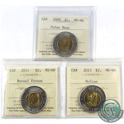 2009, 2011 Boreal Forest & 2015 McCrae Canada $2 ICCS Certified MS-66. 3pcs