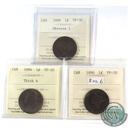1886 Canada 1-cent Obverse 1 ICCS Certified VF-30, 1894 1-cent Thick 4 VF-20 & 1896 1-cent Far 6 VF-