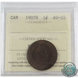 1907H Canada 1-cent ICCS Certified AU-55