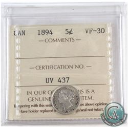 1894 Canada 5-cent ICCS Certified VF-30