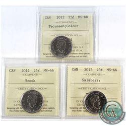 2012 Canada 25-cent Tecumseh Colour, 2012 Brock & 2013 Salaberry ICCS Certified MS-66. 3pcs
