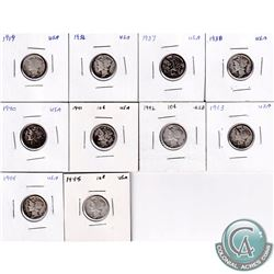 Estate Lot of 10x 1919-1945 USA Mercury Dimes in 2x2's. 10pcs