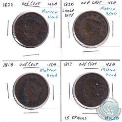 1817, 1818, 1820 Large Date & 1822 USA Matron Head Pennies. 4pcs