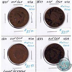 1825, 1827, 1831 & 1833 USA Matron Head Pennies. 4pcs