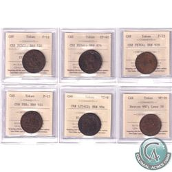 Estate Lot of 6x Canada Bank Tokens ICCS Certified - CH# PC5C1; BR# 720; F-12, CH# NS5A1; BR# 876; E