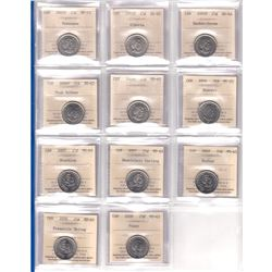 Estate Lot of 1960-1967 Canada 25-cent ICCS Certified MS-64 - 1960, 1963, 1965 Cameo & 1967 and 2005