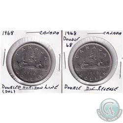 Estate Lot of 2x 1968 Canada Nickel Dollars. One has Double Die Reverse and the other has Doubled Ho