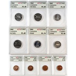 Estate Lot of 1962-1967 Canada 1-cent, 5-cent & 10-cent ACG Certified PL-68 to PL-70, two coins with
