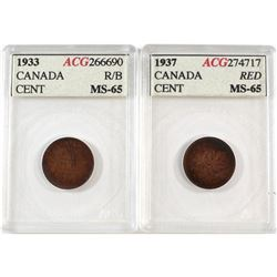 1-cent Canada 1933 RB & 1937 ACG Certified MS-65. 2pcs