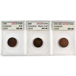 1946 RB, 1947 Maple Leaf & 1953 NSF Canada 1-cent ACG Certified MS-66. 3pcs