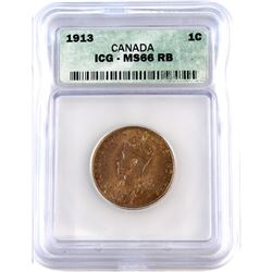 1-cent 1913 Canada ICG Certified MS-66 Red Brown