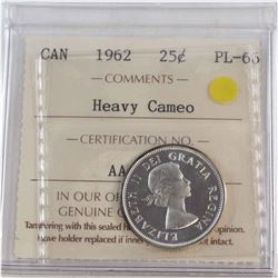 25-cent 1962 ICCS Certified PL-66 Heavy Cameo