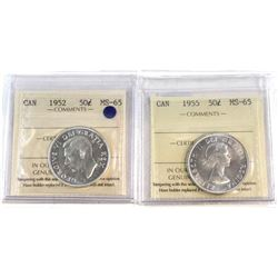 50-cent 1952 & 1955 Both ICCS Certified MS-65  2pcs.