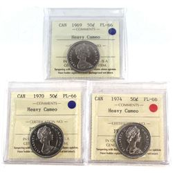 50-cent 1969, 1970, & 1974 All ICCS Certified PL-66 Heavy Cameo  3pcs.