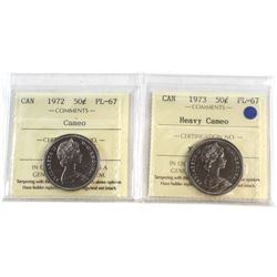 50-cent 1972 Cameo & 1973 Heavy Cameo Both ICCS Certified PL-67  2pcs.