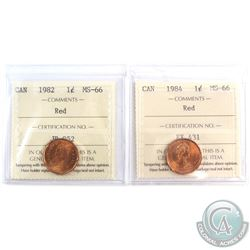 1982 & 1984 Canada 1-cent ICCS Certified MS-66. 2pcs