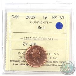 2002 Canada 1-cent ICCS Certified MS-67