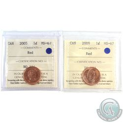 2005 & 2009 Canada 1-cent ICCS Certified MS-67 Red. 2pcs