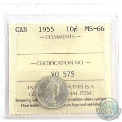 1955 Canada 10-cent ICCS Certified MS-66