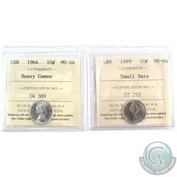 1964 Heavy Cameo & 1969 Small Date Canada 10-cent ICCS Certifed MS-66. 2pcs