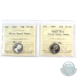 1965 & 1969 Small Date Canada 10-cent ICCS Certified PL-66 Ultra Heavy Cameo. 2pcs