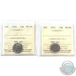 1970 & 1971 Canada 10-cent ICCS Certified MS-66. 2pcs