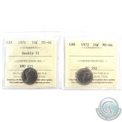 1971 Double 71 & 1972 Canada 10-cent ICCS Certified MS-66. 2pcs