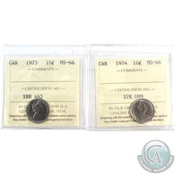 1973 & 1974 Canada 10-cent ICCS Certified MS-66. 2pcs