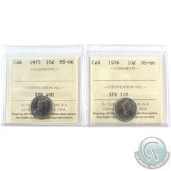 1975 & 1976 Canada 10-cent ICCS Certified MS-66. 2pcs